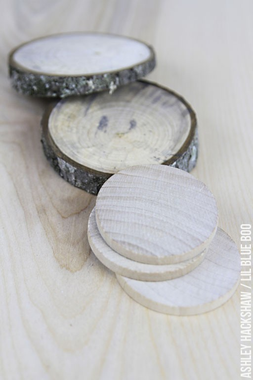 Wood tree slices for ornaments
