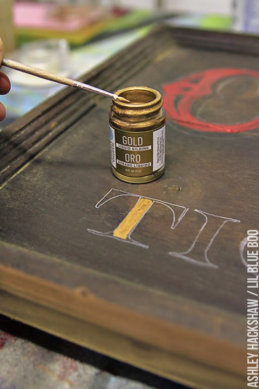how to make old fashioned signs - liquid gilding on circus sign - Marquee inspired sign