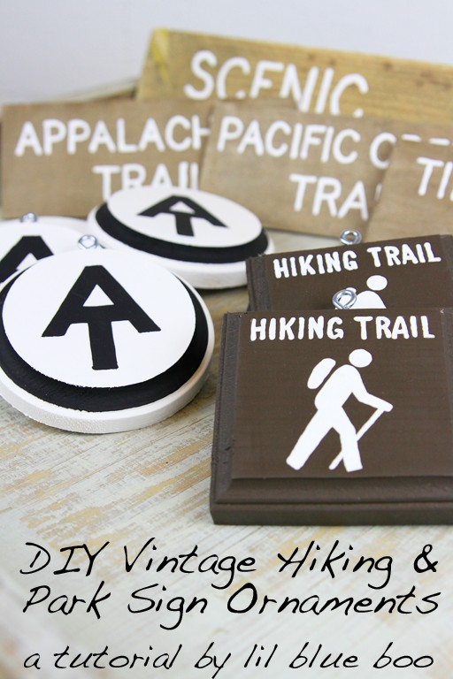 Vintage Hiking And Rustic Trail Sign Ornaments