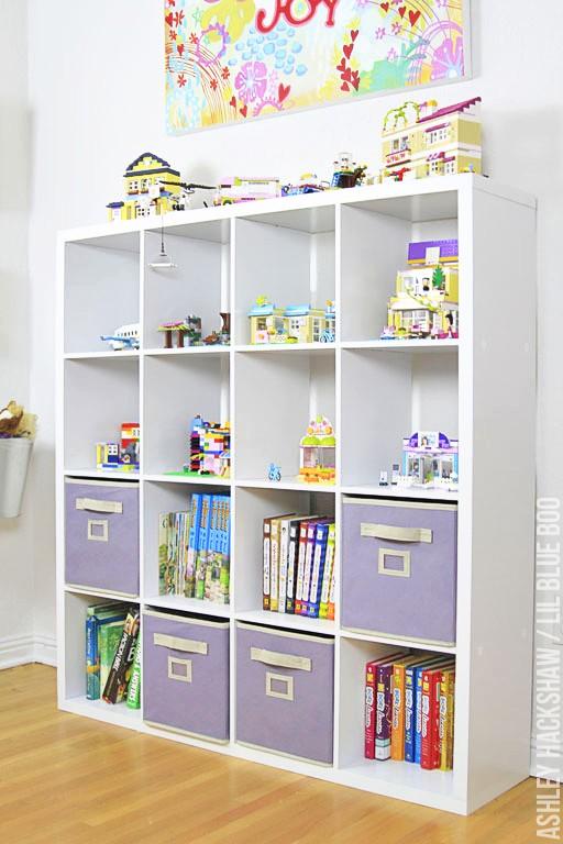 Lego storage ideas and bookshelf organization for books