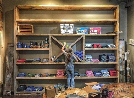 Barnwood shelf ideas via Bryson City Outdoor Outfitter in Bryson City, NC - barnwood shelf system