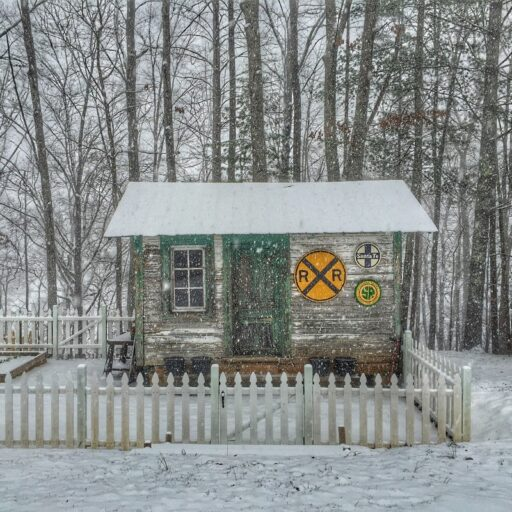 The Old Depot - Train Depot Covered in Snow