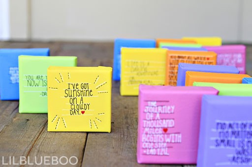 DIY valentine day crafts for adults - mini canvas art gifts