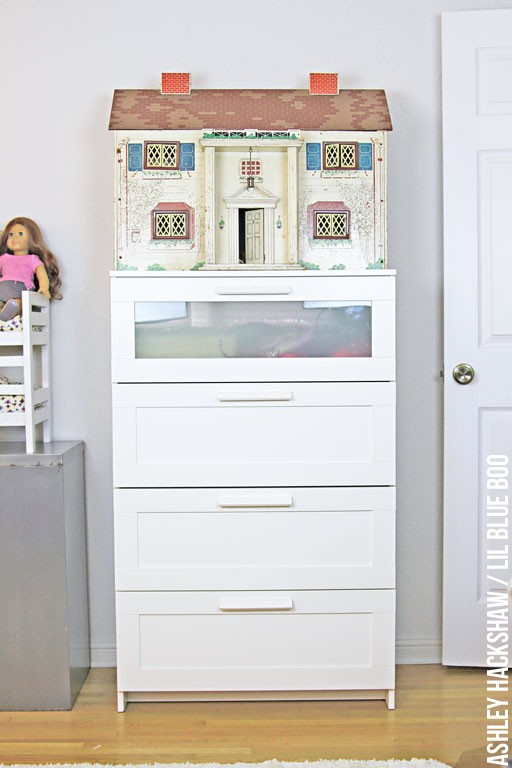Girls Room Decor - vintage doll house mixed with ikea dresser set
