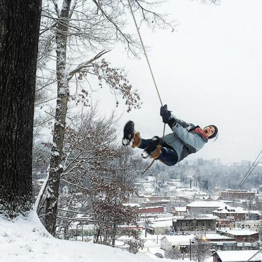 Snow Day 2016 - Tree Swing over Bryson City NC Great Smoky Mountains