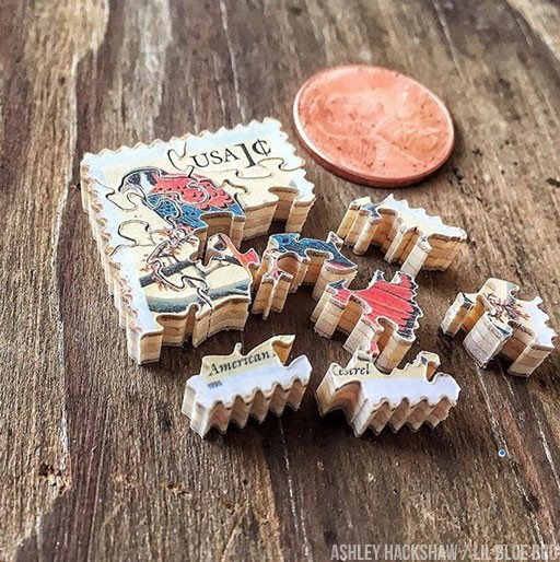 Miniature Jigsaw Puzzles made from Postage Stamps