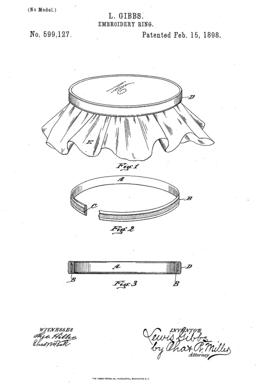Embroidery hoop patent