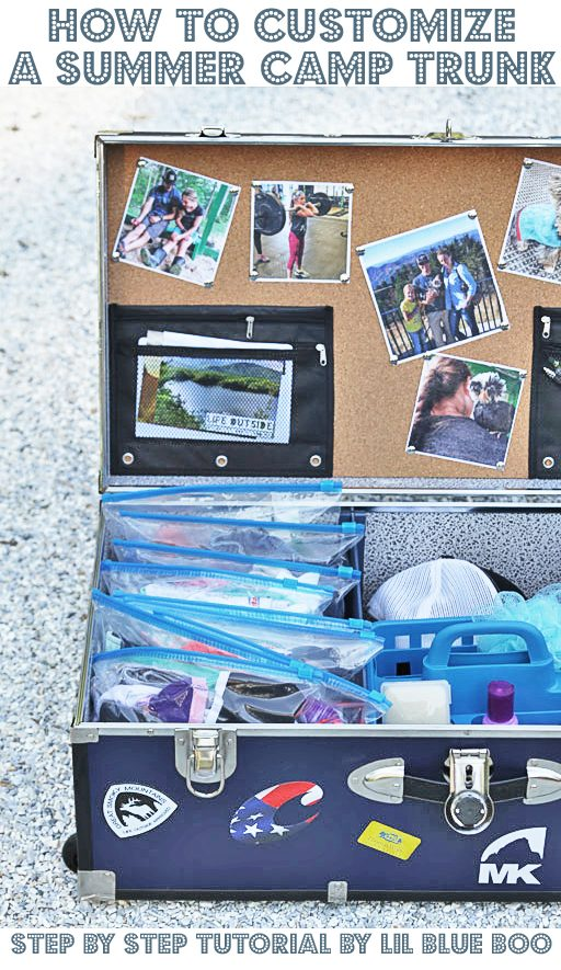 DIY Camp Trunk Organizer - How to customize and organize an epic summer camp trunk - summer camp trunk decorating ideas