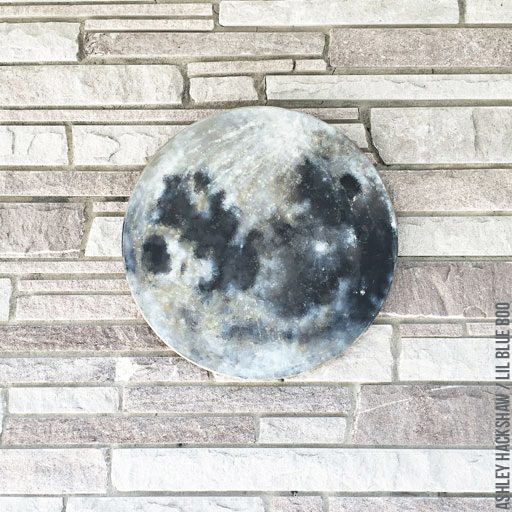 Full Moon Painting - Round wood Moon Wall Decor