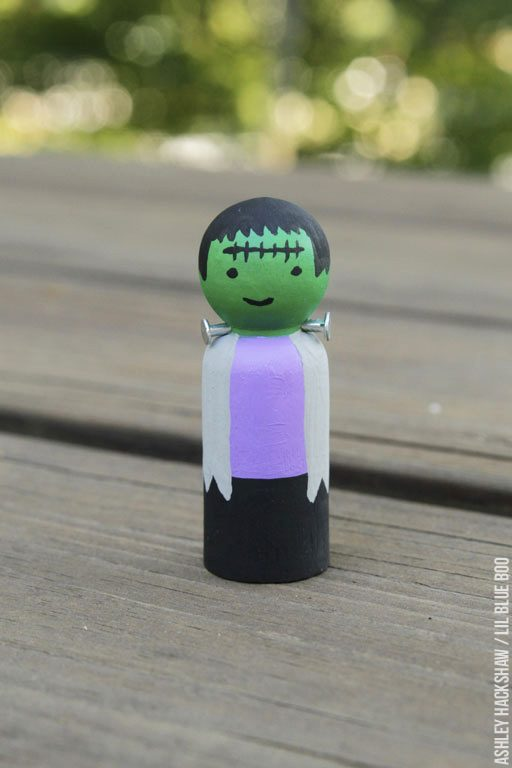 How to paint a Frankenstein peg doll - peg doll tutorial
