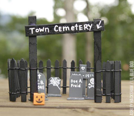 Halloween Fairy Village ideas - cemetery and tombstones