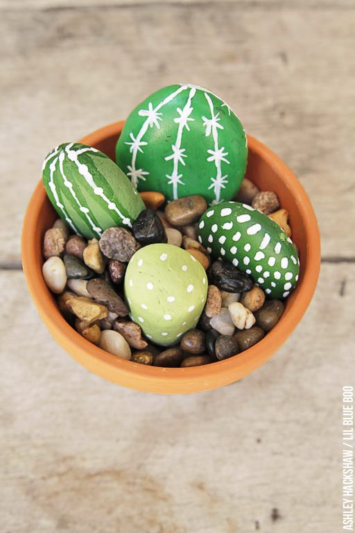 Kid Friendly Garden Craft - Cactus made from rocks