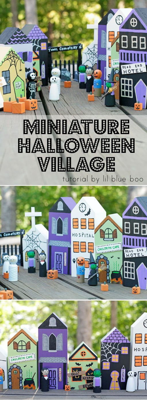 Paint Your Own DIY Halloween Village - DIY Halloween Decor - Mini Ghost Town tutorial #makeitwithmichaels
