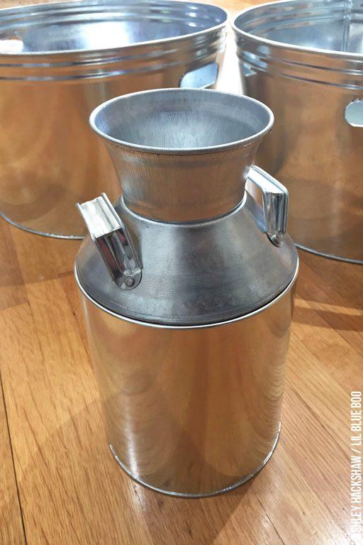 Vintage Rustic Galvanized Handled Metal Milk