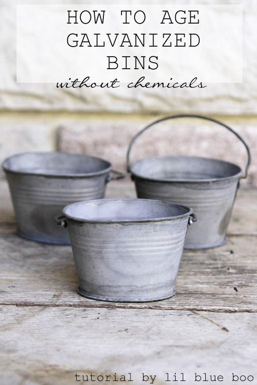 How to Age Galvanized Metal Bins and buckets - instantly age tin without harsh chemicals