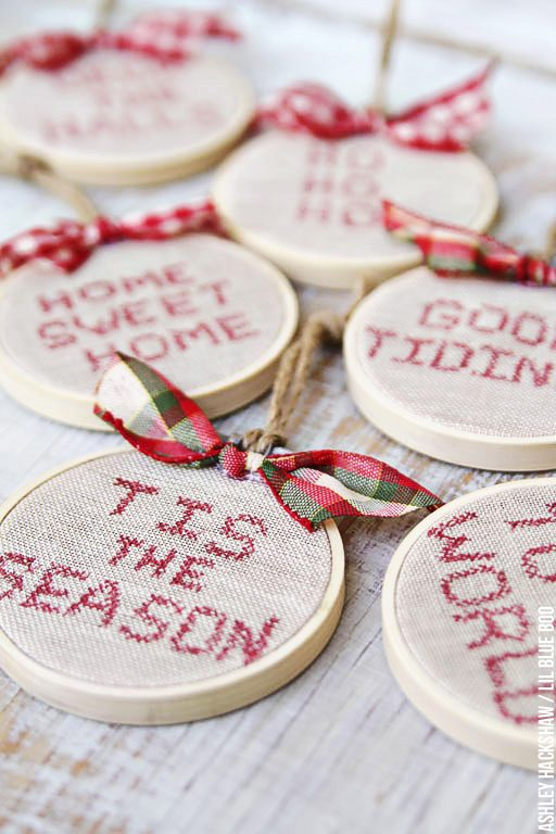 DIY Embroidery Hoop Christmas Ornaments - Faux Cross Stitch Embroidery