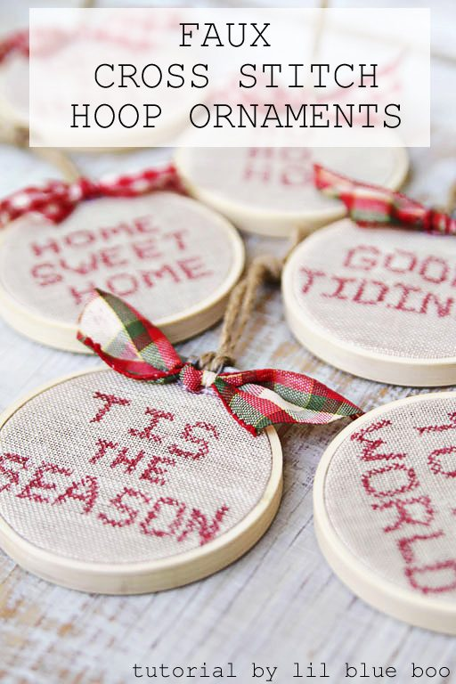 Faux Cross Stitch Hoop Ornaments - Dream Tree Challenge 2016 - Handmade Ornament Ideas