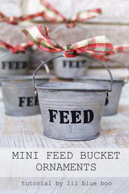 DIY Rustic Christmas Ornaments Ideas - Use small galvanized buckets for tiny feed bucket ornaments - Rustic Farm and Farmhouse Christmas Theme