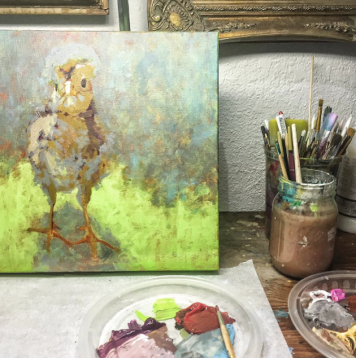 Chicken Painting Progress - White Polish Crested Chick