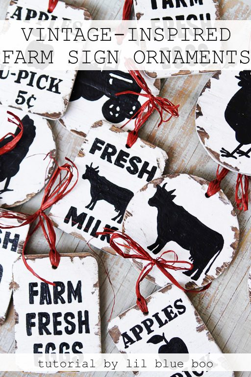 How to paint vintage inspired farm sign ornaments with free image download - Rustic Christmas Decor