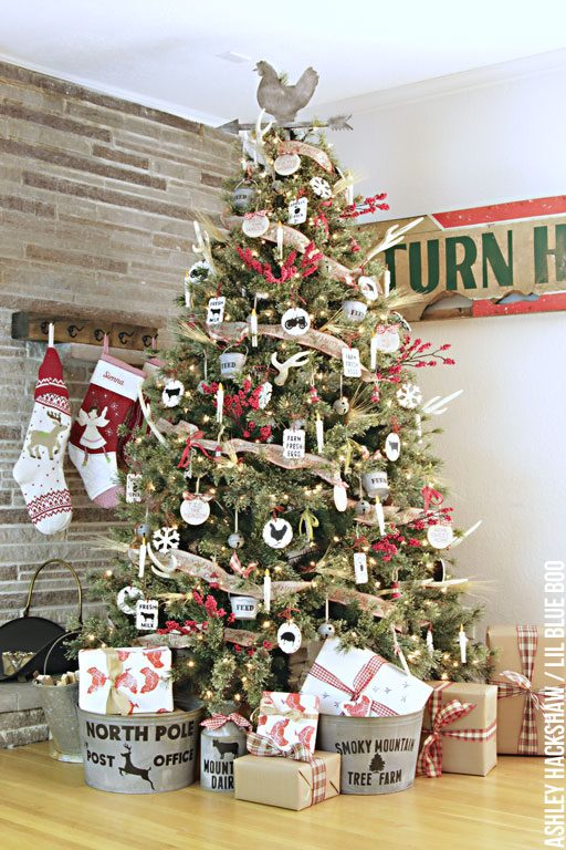 Rustic Farmhouse Christmas Tree and Easy DIY Handmade Rustic Vintage Ornaments