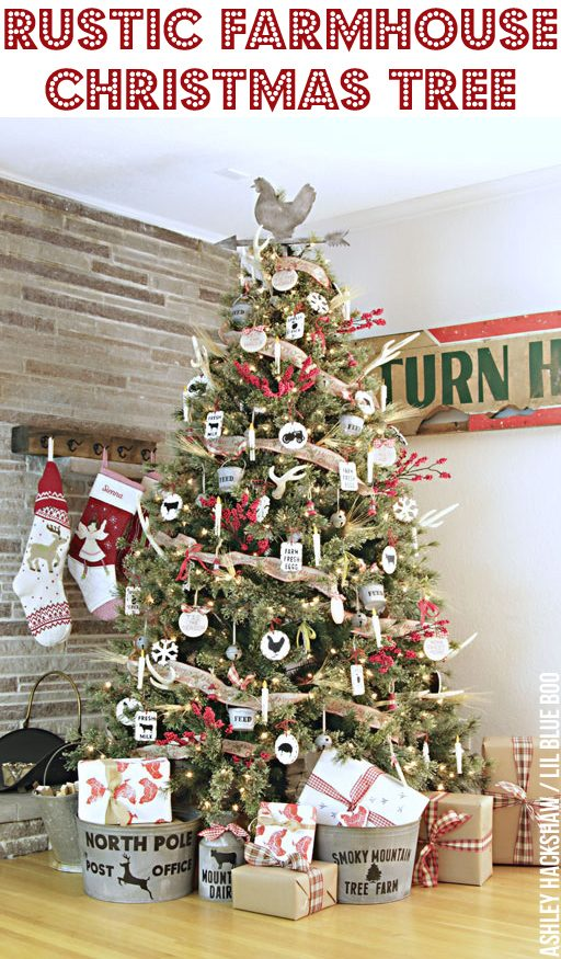 Rustic Farmhouse Christmas Tree and Easy DIY Handmade Rustic Vintage Ornaments #makeitwithmichaels Dream Tree Challenge 2016