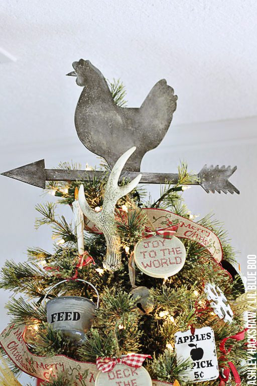 How to make a rustic Christmas Tree Topper - Chicken related ornaments and decor