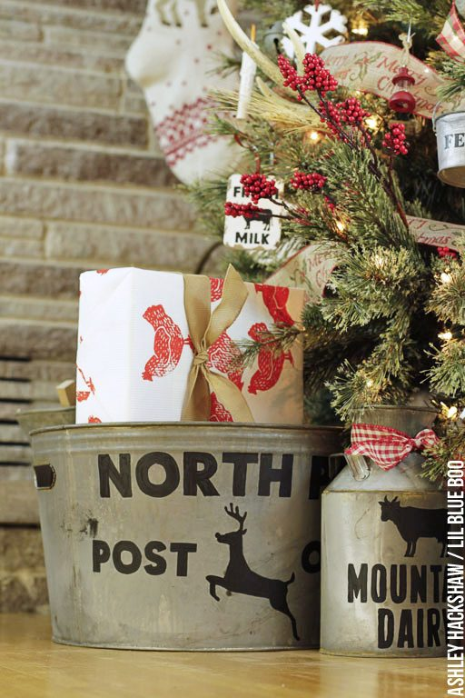 Rustic Christmas Decorating Ideas - North Pole Post Office and Dairy Can