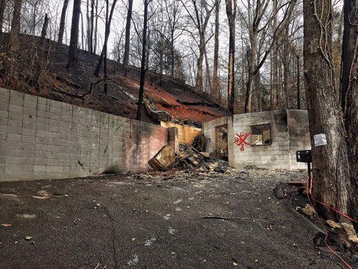 Burned house in Gatlinburg, TN - Chimney tops fire