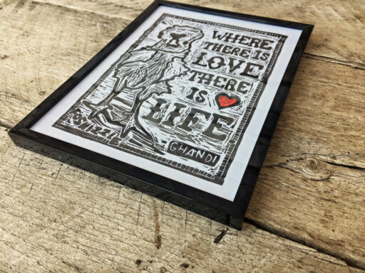 Etsy Print - Where There is Love There is Life - Block Print - Chicken Art and Love quote - Home decor handmade - Lino cut