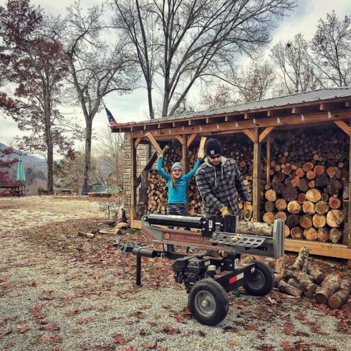 winter is coming - splitting and stocking firewood - firewood shed