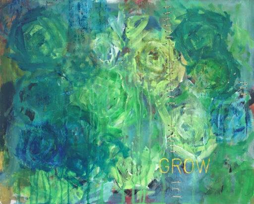 Daily Paintings for 2017 - Painting on Reclaimed Wood - Kintsugi Stitching #2017paintingaday - Ashley Hackshaw / @lilblueboo
