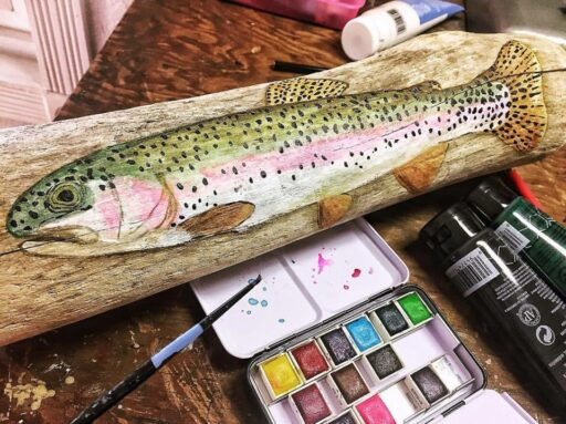 Trout Painting and Fly Fishing Painting on Driftwood