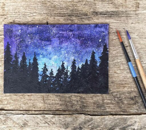Daily Paintings for 2017 - Galaxy Watercolor with trees - Smoky Mountains #2017paintingaday - Ashley Hackshaw / @lilblueboo