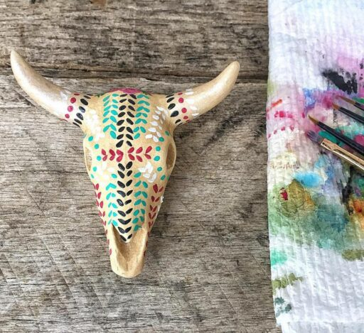 Daily Paintings for 2017 - Painting on a Tiny Animal Skull - Steer Skull #2017paintingaday - Ashley Hackshaw / @lilblueboo