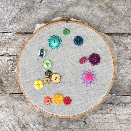My 365 Project - A Stitch a Day - adding a button or bead each day for 365 days