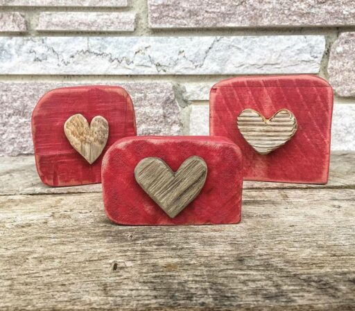 Reclaimed wood and driftwood hearts