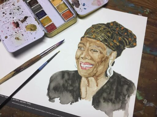 Daily Painting - Maya Angelou Portrait - Watercolor