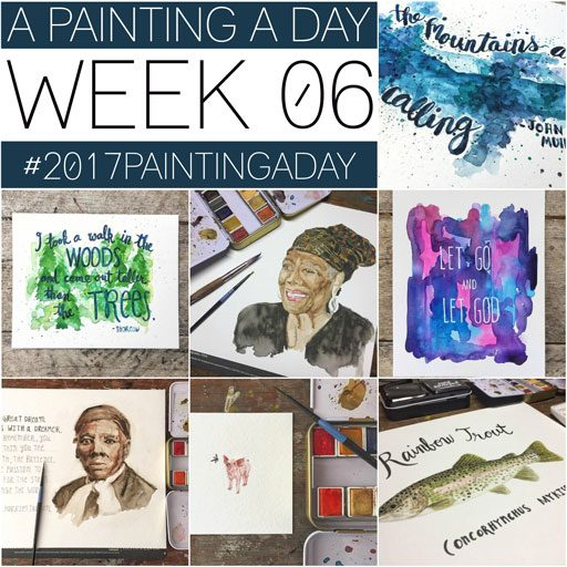 Week 5 One Painting a Day - Daily paintings by Ashley Hackshaw / Lil Blue Boo 365 Project