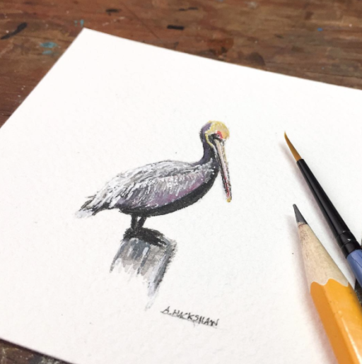 Tiny Painting - Pelican - Watercolor