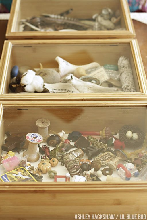 Using Shadow Boxes to display trinkets and other found objects- rock and mineral display boxes