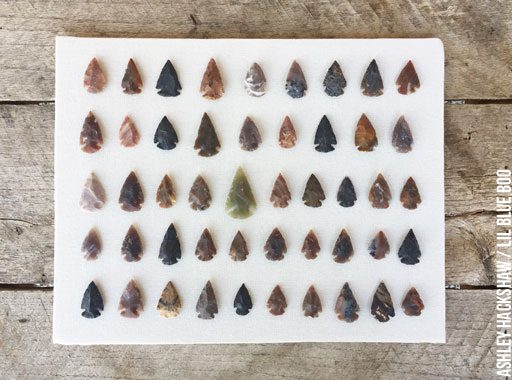 displaying arrowheads in a shadow box