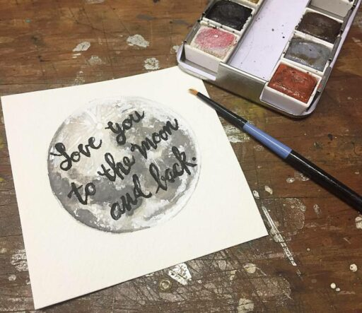 Tiny Moon Painting - Ashley Hackshaw - 365 Project - Daily Painting