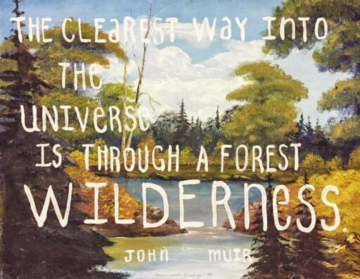 Vintage thrift store painting with quote