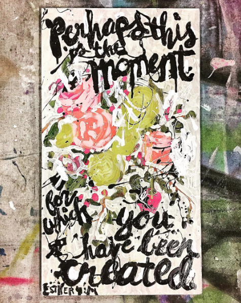 Enamel Floral and scripture quote painting