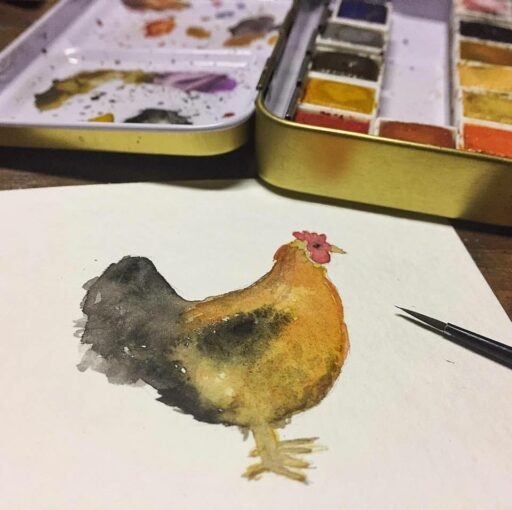 Chicken Watercolor Painting - Tiny Painting