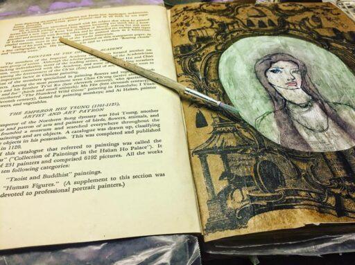 Art Journal Page using Jane Davenport Stamp and Williamsburg Shopping Bag