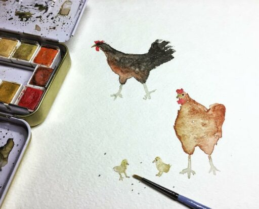 watercolor chickens - Week 13 of 14 of my daily painting 365 project. #365project