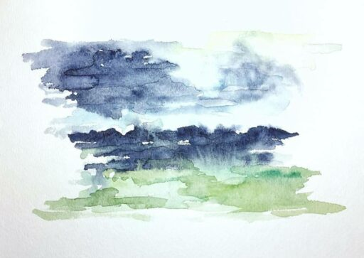 Abstract Landscape - watercolor chickens - Week 13 of 14 of my daily painting 365 project. #365project