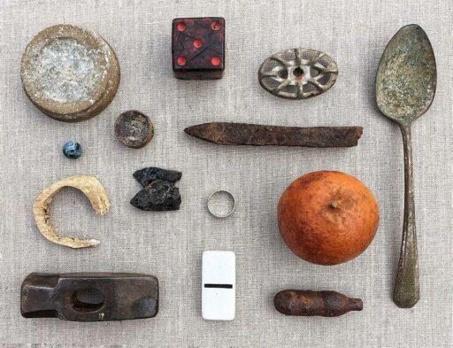 Things found at the Sixty-One Park farmhouse - metal detecting - found object collage